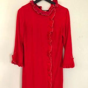 Vintage red ruffled dress